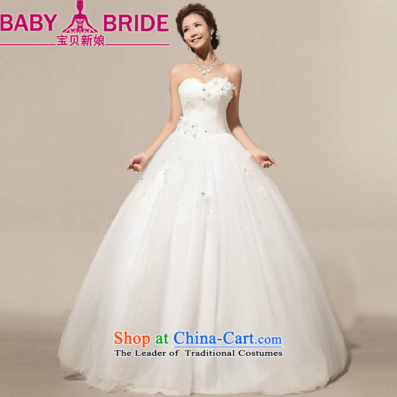 2014 new bride treasure on the new manual flowers Marquee to skirt retro white Korean brides wedding dresses m White?L