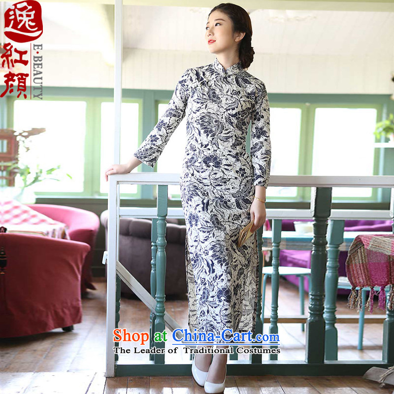 A Pinwheel Without Wind--jae _Yat-lan cotton linen dresses new stylish retro fitted in spring and autumn improved long cheongsam dress suit聽XL
