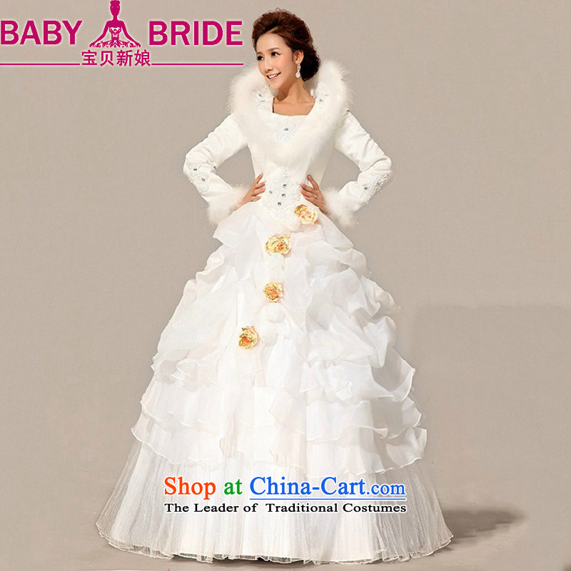 Baby bride wedding dresses 2014 new bride winter wedding gross cotton for wedding warm white long-sleeved cotton wedding will do not return - size please leave a message