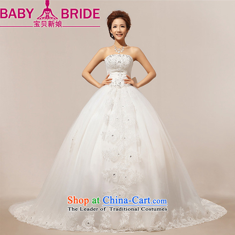 2014 new bride love Korean stars with stylish and luxurious large tail chest bride wedding dresses m White?S
