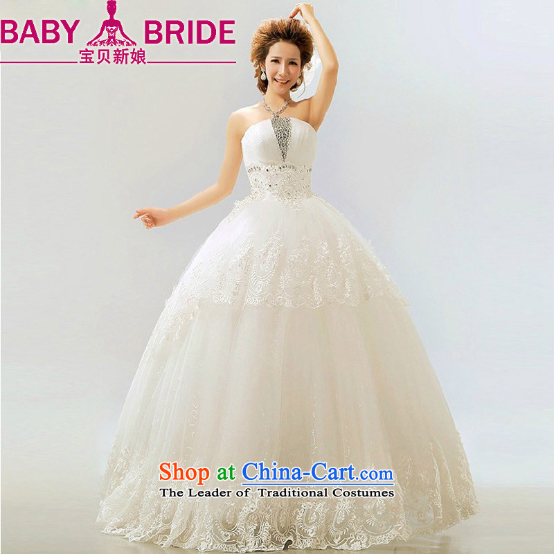 2014 new bride treasure retro stars of the same flash light drill Korean bon bon marriages wedding dresses white L
