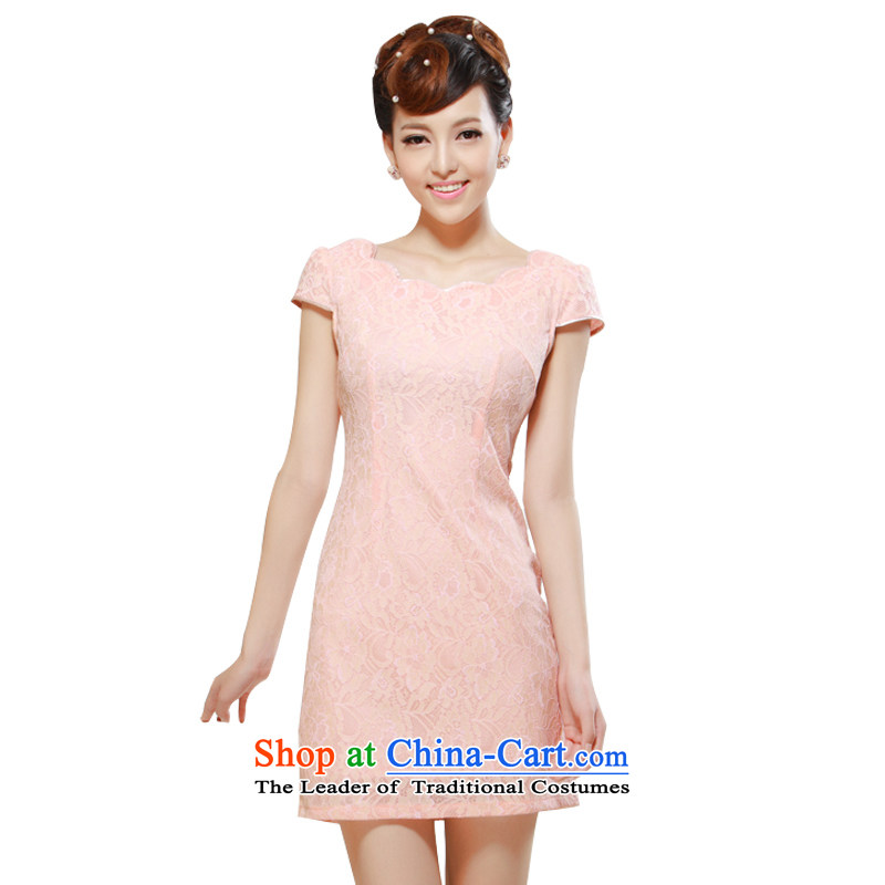 2014 New elegant beauty video summer improved stylish thin, daily sweet qipao skirt pink M