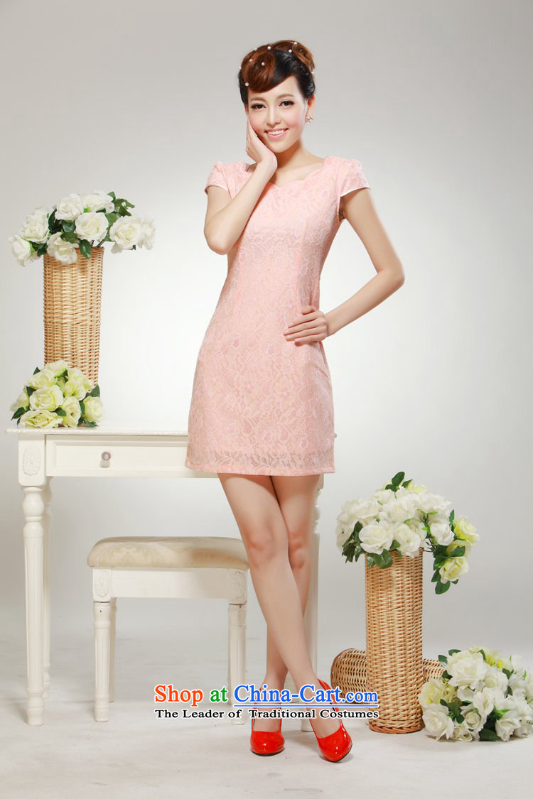 2014 New elegant beauty video summer improved stylish thin, daily sweet qipao skirt pink聽M picture, prices, brand platters! The elections are supplied in the national character of distribution, so action, buy now enjoy more preferential! As soon as possible.