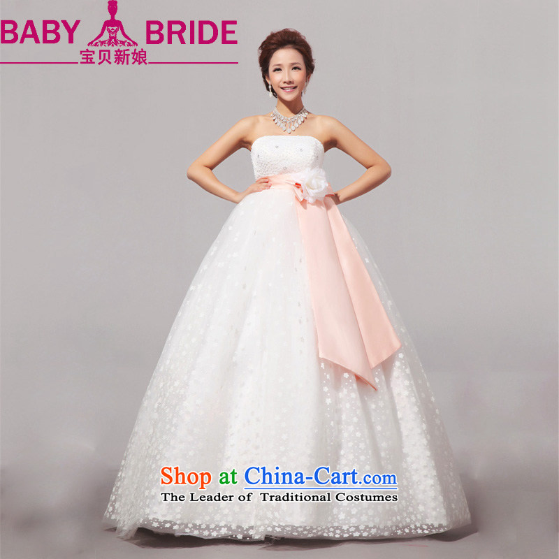 2014 new bride treasure sweet large Korean pregnant women wedding wedding dress wiping the chest wedding outdoor white made no returns - The size of the message