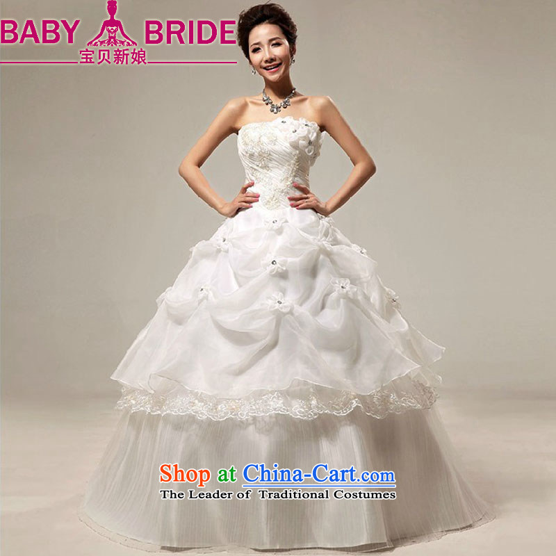 Baby bride wedding dresses Korean Won-sweet water drilling and chest straps flowers to align marriages wedding white made no returns - The size of the message