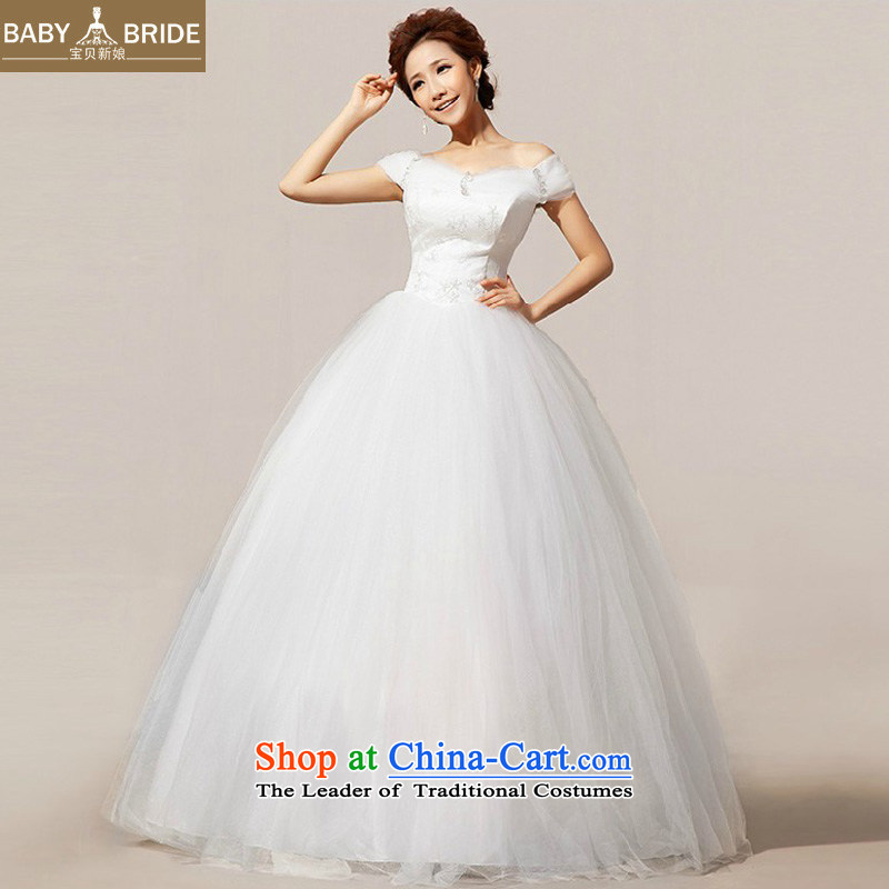 2014 new bride treasure Korean word sweet shoulder wedding Sau San, marriages wedding dress m WhiteXXL