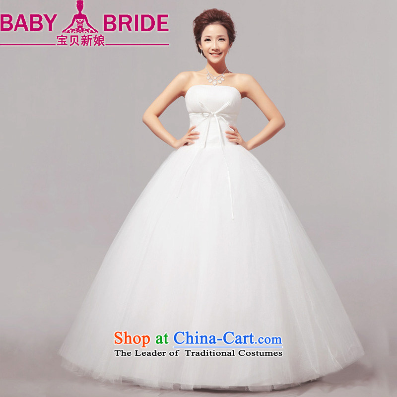 Baby bride 2014 Summer new minimalist sweet words to his chest bon bon wedding dresses mall female m White?M