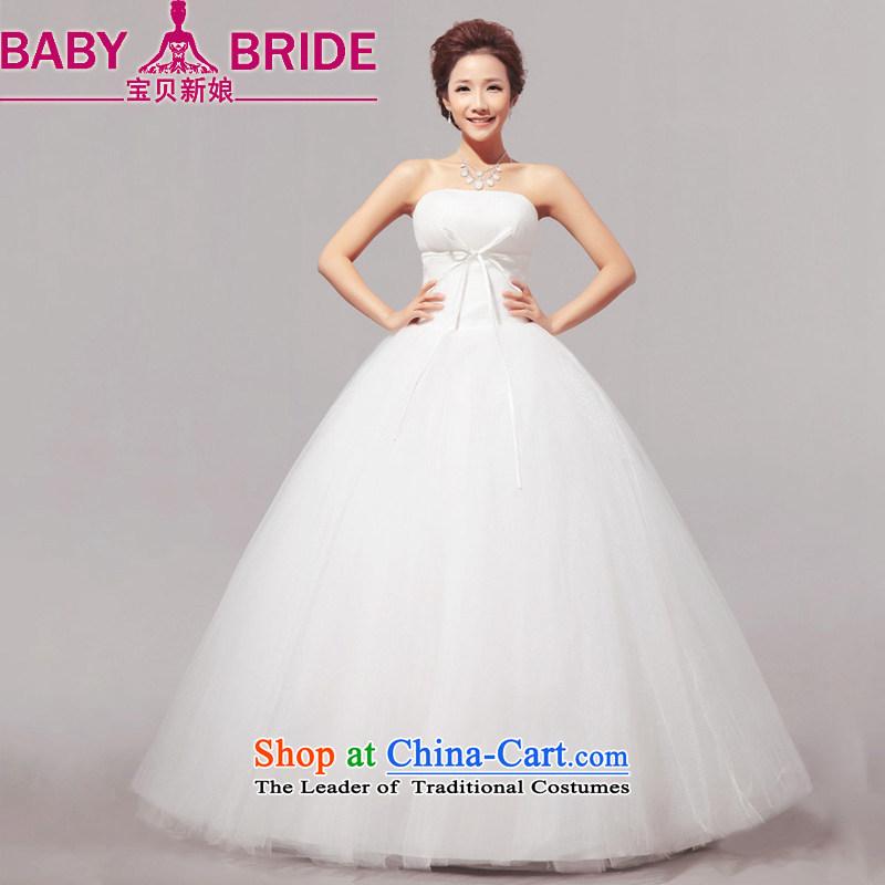 Baby bride 2014 Summer new minimalist sweet words to his chest bon bon wedding dresses mall female m WhiteM