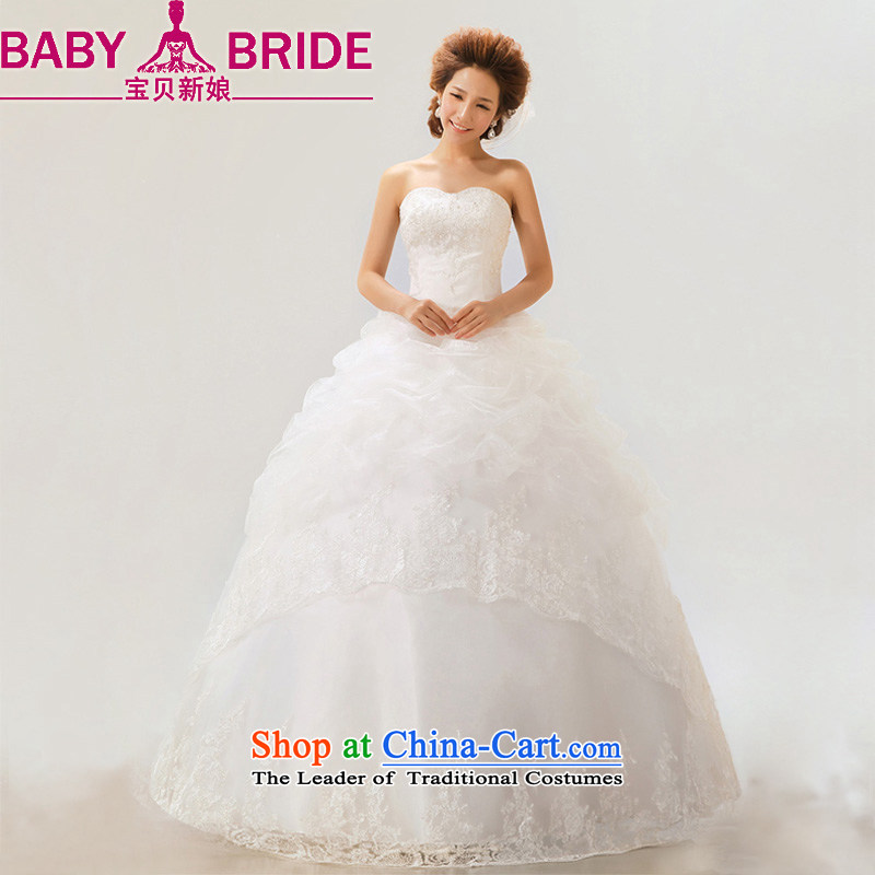 2014 new bride treasure bride wedding dresses lace on-chip integrated with sweet bride wedding white?S
