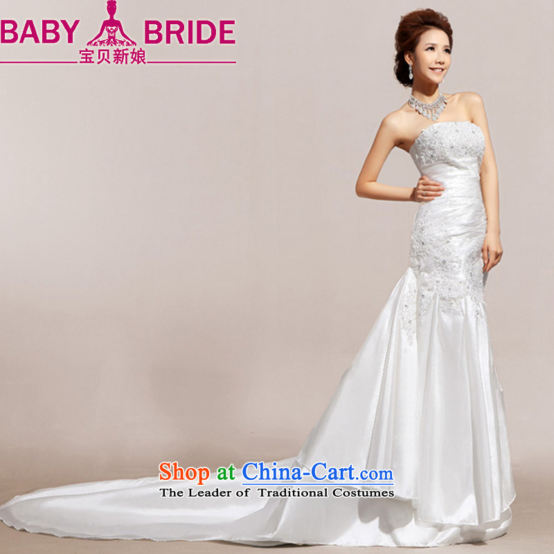 Baby bride 2014 Summer new name door wipe chest advanced lace foutune crowsfoot wedding dresses bride loading White�XL