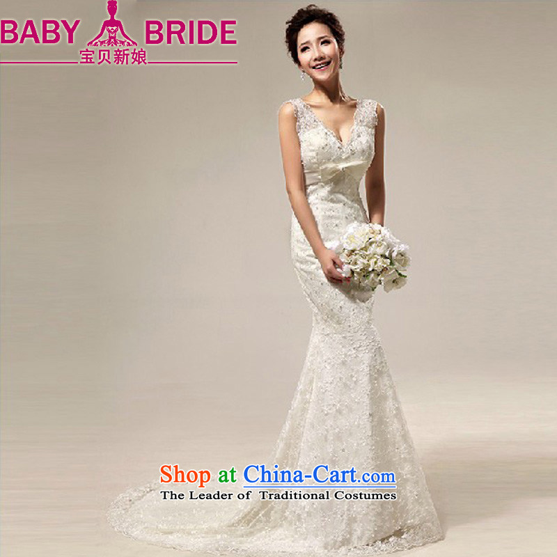 Baby bride wedding dresses deep V shoulders lace sweet foutune crowsfoot small trailing marriages wedding dresses m White?XXL
