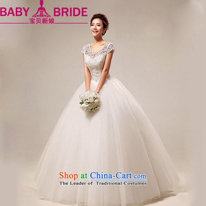 Baby bride winter Wedding?2014 new Korean word shoulder sweet lace princess to align the wedding white made no returns - The size of the message