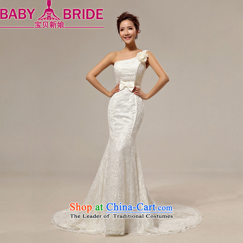 Baby bride stylish Korean flower shoulder straps crowsfoot Foutune of marriages wedding dress photo building photo m White�L