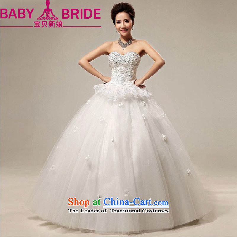 Baby bride wedding dresses�2014 New Sweet Heart and chest straps lace align to marriages wedding m White�XL