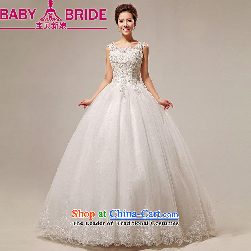 2014 new bride love Korean Won-sweet lace shoulder straps to align marriages wedding dress m White made no returns - The size of the message