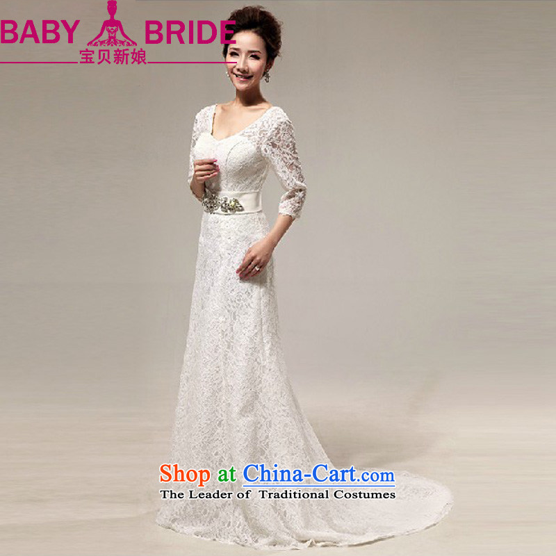 The Korean version of the bride baby luxury on the drilling sweet lace a field in the tail light shoulder cuff marriages wedding dresses m White?L