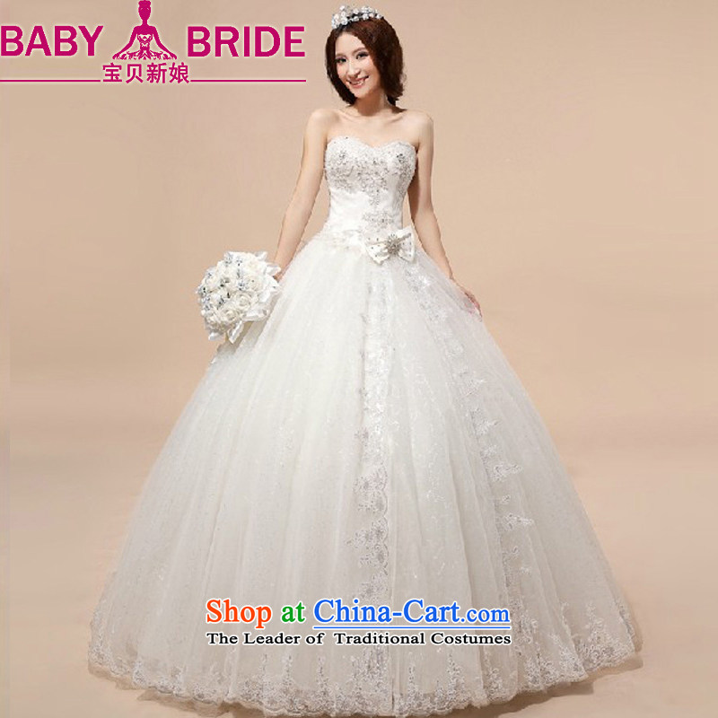 Baby bride wedding dresses聽2014 new Korean anointed chest wedding grid yarn strap pregnant women wedding White聽XXL