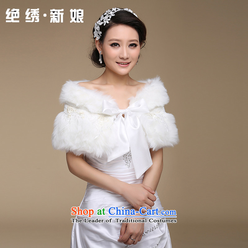 There is gross shawl embroidered bridal dresses qipao bridesmaid to married women of autumn and winter shawl m White