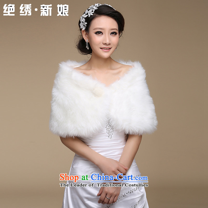 There is gross shawl embroidered bridal dresses new 2014 wedding dresses during the spring and autumn winter shawls gross of pure white m White single-sided gross