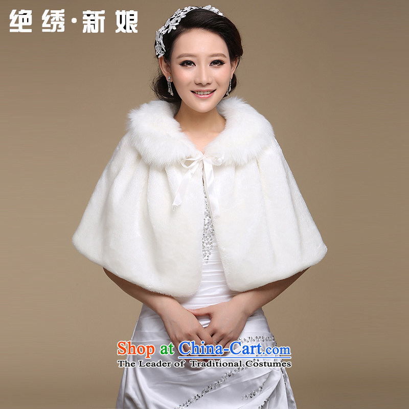 The bride wedding dresses cheongsam red and white small cloak gross shawl Korean New autumn warm winter�PJ68 shawl m White Hair