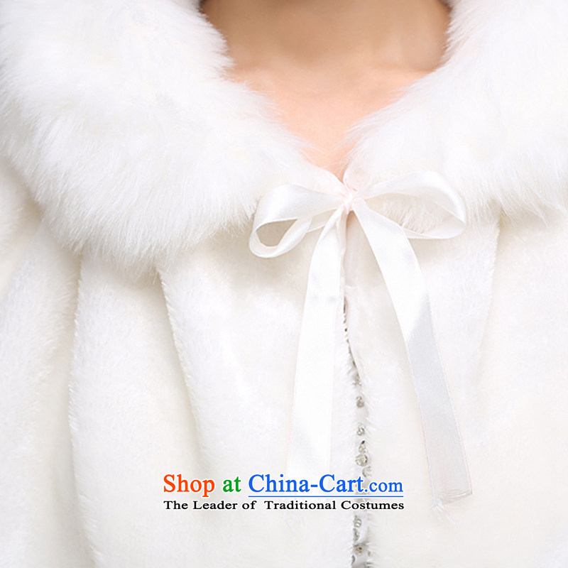 The bride wedding dresses cheongsam red and white small cloak gross shawl Korean New autumn warm winterPJ68 shawl m white hair, embroidered bride shopping on the Internet has been pressed.