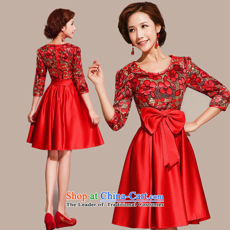 The Korean version of the new mslover short of improved long-sleeved dress qipao skirt bows services?QLF130816?RED?M 2.1 ft), waist