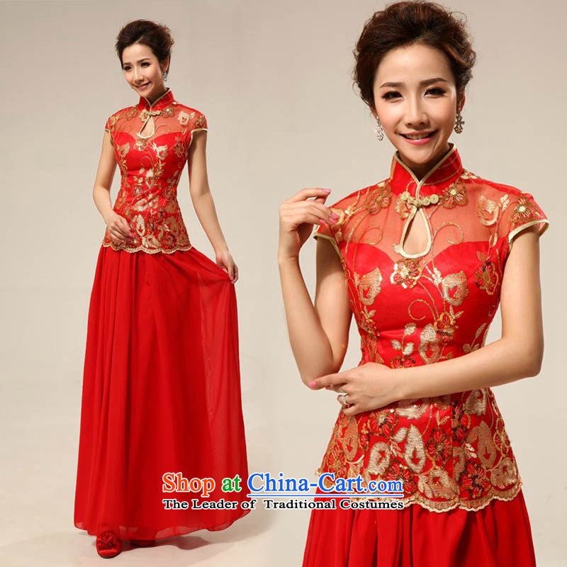 The new red qipao mslover cheongsam dress brides marriage long lace bows services qipao QLF130818 red?L (2.2 feet) of the waist