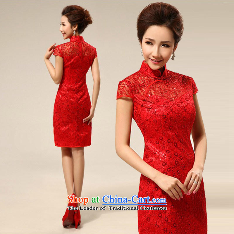 The new red qipao mslover cheongsam dress bride short of marriage, lace bows services qipao QLF130819 Red?2 feet 2 L waist