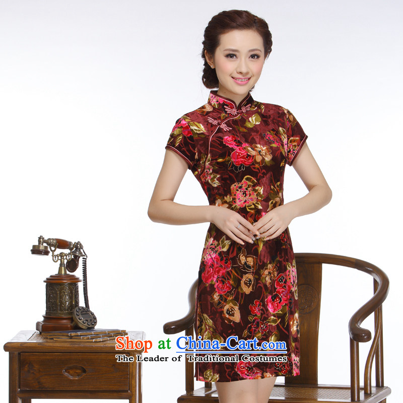 The former Yugoslavia, Ms. Li known 2015 opened's really velvet short qipao retro improved stylish short-sleeved QR315 wine red S