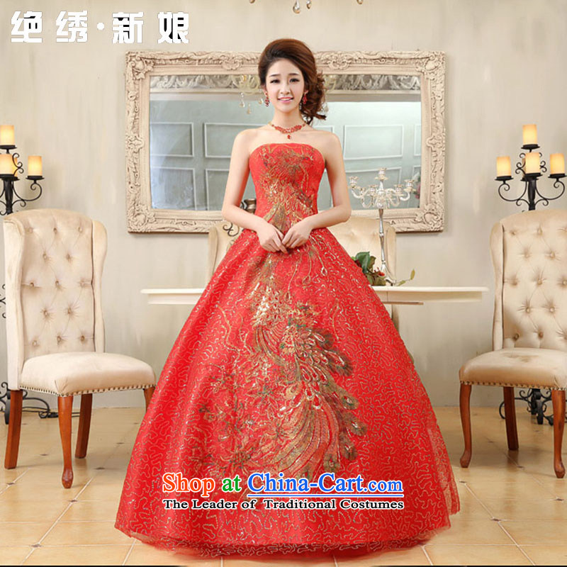 No new Phoenix bride embroidered wedding services extra large red bride bows service code will get married late binding with video thin red dress?XXL
