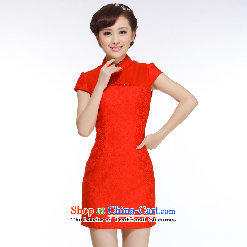The former Yugoslavia Li known spring 2015 NEW OSCE root yarn Diamond red qipao gown exquisite Chinese brides upscale?QW010 replacing?red?L