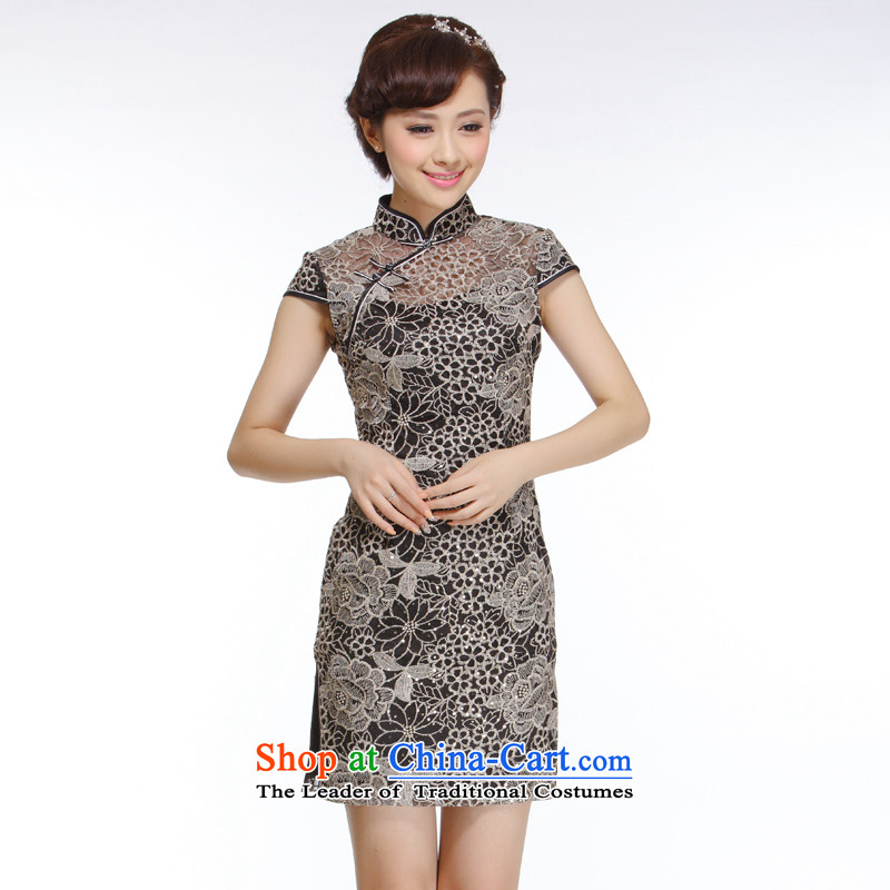 The former Yugoslavia Li know�new 2015 Ladies black lace engraving improved stylish and elegant qipao�QR310 Sau San embroidery�black�M