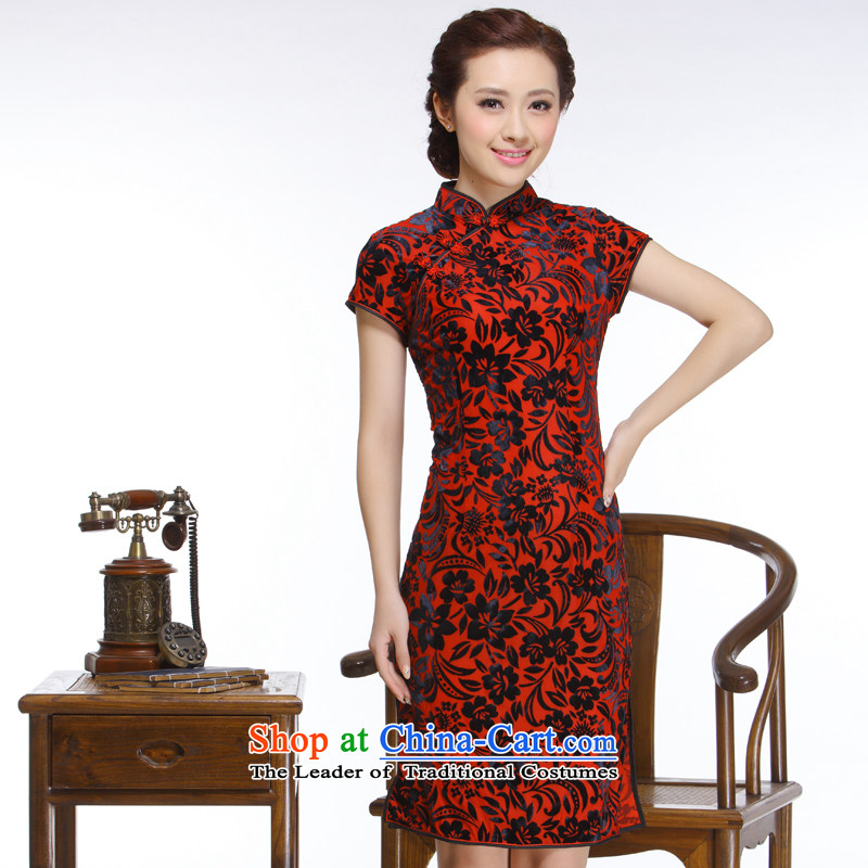 The former Yugoslavia Li aware of the new president of nostalgia for the 2015 improved elegant high-quality really low power's short velvet cheongsam?QR316?wine red?M