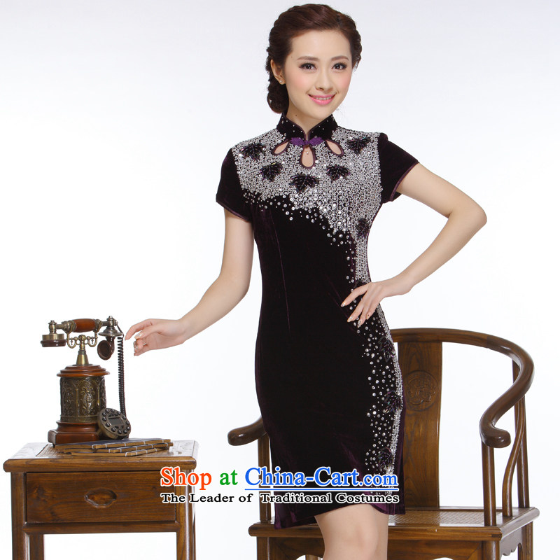 The former Yugoslavia Li aware of the new 2015 Ms. manually staple pearl chest retro improved stylish and elegant qipao?QT151 short?purple?L