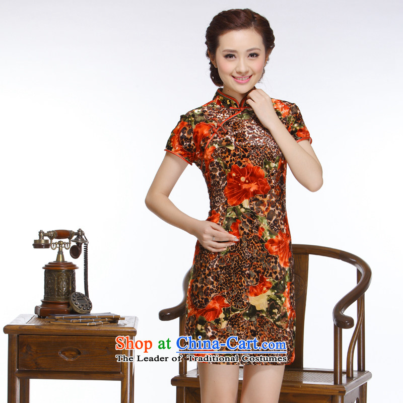 The former Yugoslavia Li aware of the new president of nostalgia for the 2015 improved stylish Sau San Leopard flowers really short qipao? QR318 plush?leopard?L