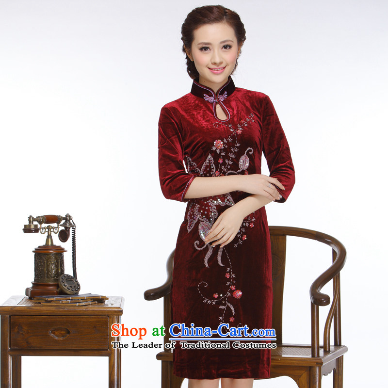 The former Yugoslavia Li aware of the new president of nostalgia for the 2015 improved manually staple pearl stylish Sau San pipa collar short qipao�QR322�wine red�M