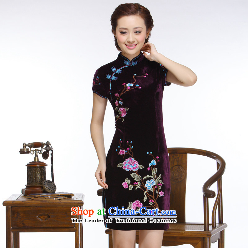The former Yugoslavia Li known 2015 new women's embroidery manually disc detained elegant atmosphere improved stylish short purple qipao聽QR323聽PURPLE聽M