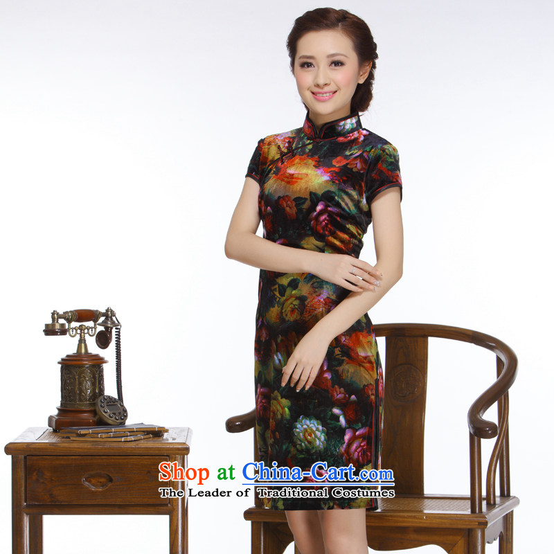 The former Yugoslavia Li known 2014 new women's retro improved stylish Sau San really streaking scouring pads rose peony cheongsam QR325 bleeding rose peony XXL