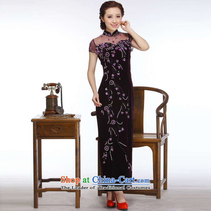 The former Yugoslavia Li aware of the�new president improvements 2014 stylish and elegant engraving pearl nail long really�QR327 qipao�purple plush�M
