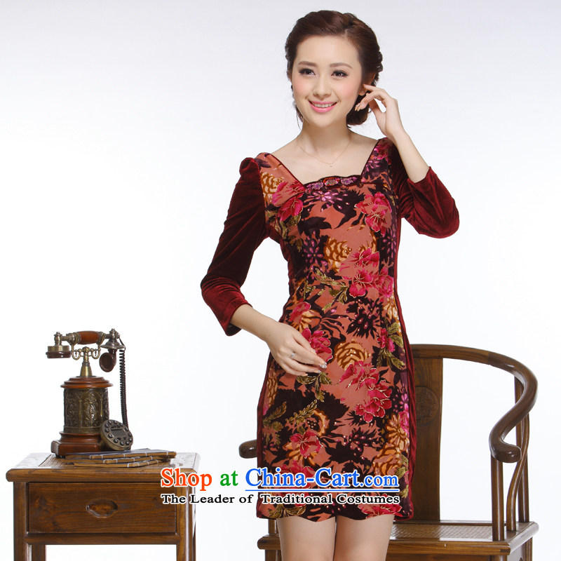 The former Yugoslavia Li known 2015 new women's stylish and elegant banquet dresses improved party for 7 minutes and cuff of the forklift truck qipao�QR328 no�party leader really scouring pads�XL