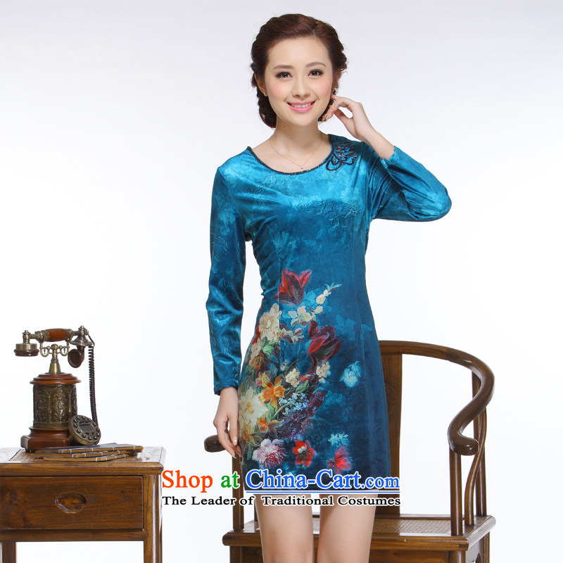 The former Yugoslavia Li aware of the�new 2014 Ms. Tang Gown of nostalgia for the improvement of the forklift truck without staples elegant bead short skirts�QW116 qipao�blue�XXL