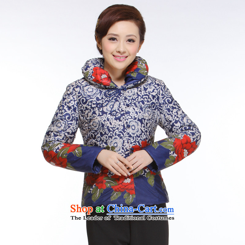 The former Yugoslavia informed 2013 autumn and winter Li new women's improved Tang dynasty fashion 2 color cotton into reverse collar cotton shirts, Ms. QB-001 BLUE L
