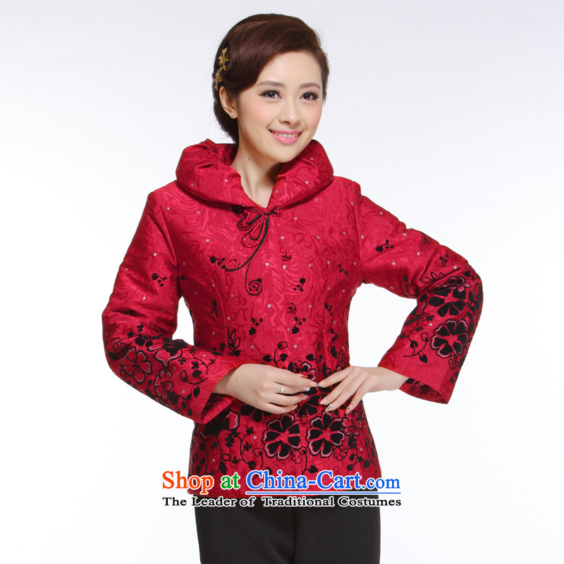 The former Yugoslavia Li know new autumn and winter 2015 Ms. Tang tray clip on red cotton-iron for improved shirt? QB-002 gross?red?XL