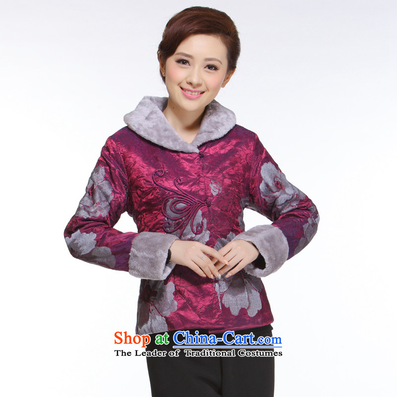 The former Yugoslavia informed?2013 autumn and winter Li New President Tang dynasty retro improved gross cotton clothing for stylish aubergine?CN3051 shirt?aubergine?L