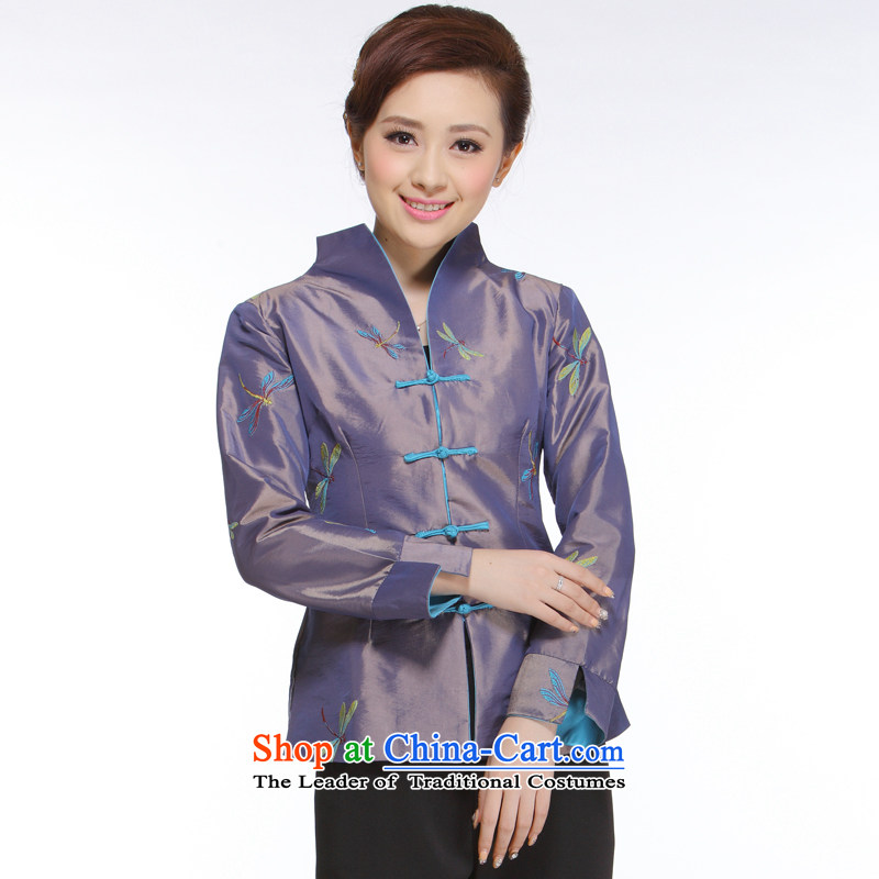 The former Yugoslavia Li aware of the new president of nostalgia for the 2014 improved stylish and elegant purple Dragonfly Tang blouses jacket�QN012�dragonfly shirt�M