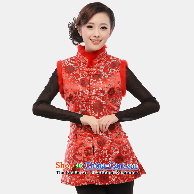 The former Yugoslavia Li Spring 2015 know Tang blouses female Ma 甲士 Chinese Long Folder cotton vest increase improved qipao ma folder, a 34 sherds of Caesars red vest XXXL