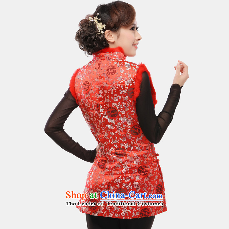The former Yugoslavia Li Spring 2015 know Tang blouses female Ma 甲士 Chinese Long Folder cotton vest increase improved qipao ma folder, a 34 sherds of Caesars red vest XXXL, Yugoslavia (Q.LIZHI Li shopping on the Internet has been pressed.)