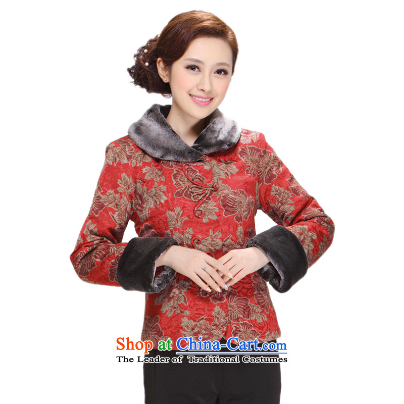 Ms. Tang Dynasty Winter 2013 new middle-aged moms clothes jacket thick hair Sau San Tong for Red 4XL