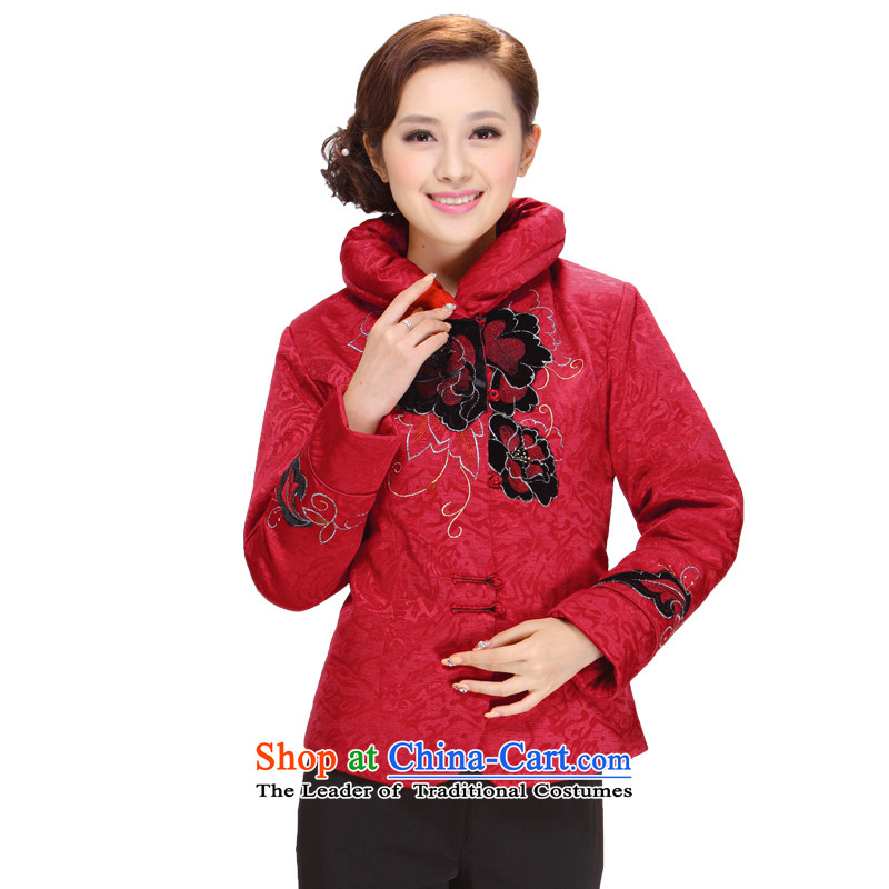 Tang Women's clothes for winter 2013 new middle-aged mother temperament and stylish Sau San Tong blouses red jacket�2XL