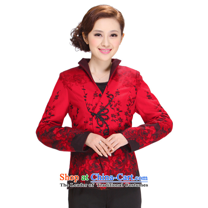 Tang Women's clothes for winter 2013 new middle-aged mother Tang blouses jacket, Red 3XL Tang